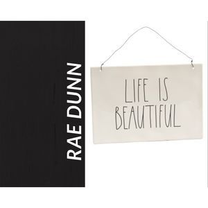 NWT Rae Dunn LIFE IS BEAUTIFUL Wall Plaque